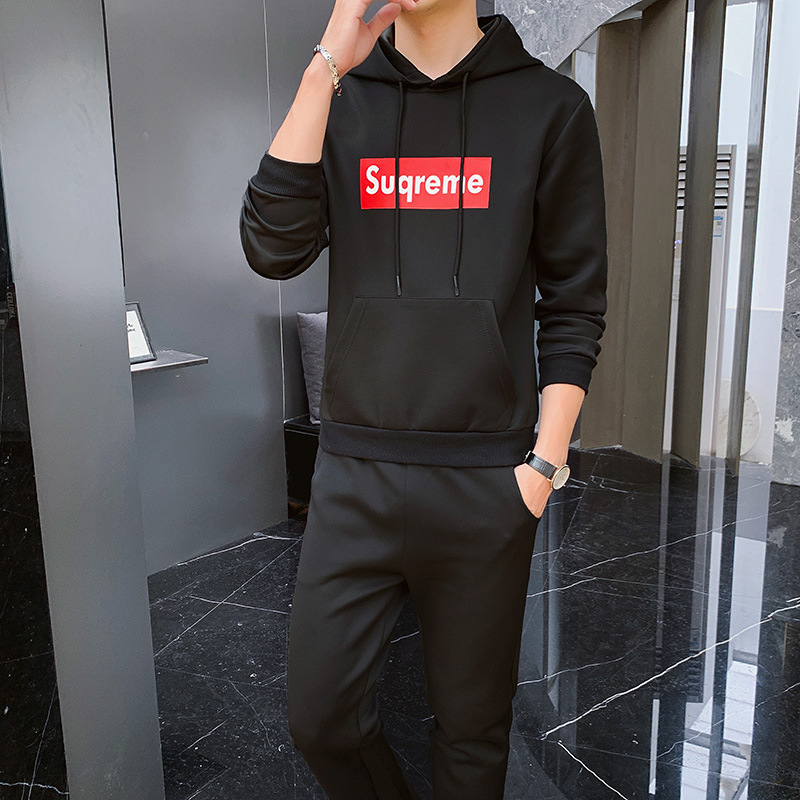 Spring And Autumn Men Hoodie Suit Korean-style Trend Sup Students Sports Set Hooded Pullover Hoody Two-Piece Set Men's