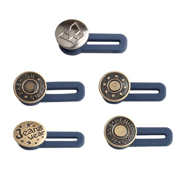 5pcs Free Sewing Buttons Adjustable Disassembly Retractable Jeans Waist Button Metal Extended Buckles Pant Waistband Expander 1