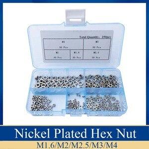 250Pcs/set Nickel Plated M1.6 M2 M2.5 M3 M4 Carbon Steel Hex Nut Assortment Kit Hexagon Nuts Metric Thread Assortment Kit