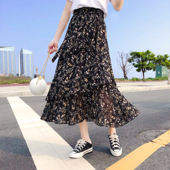 Chiffon Ruffle Skirt Women Mid-length High Waist Mermaid Skirt Floral Printe Elastic Waist Midi Skirt A-line Fashion Girls Skirt self belt ruffle waist high split skirt