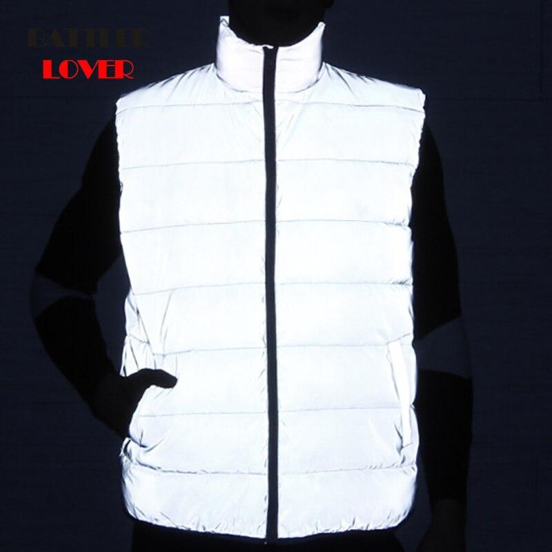 2019 Reflective 3M Men Sleeveless Jacket Winter High Quality Down Cotton Vest Males Slim Fit Vest Mens Windproof Warm Waistcoat