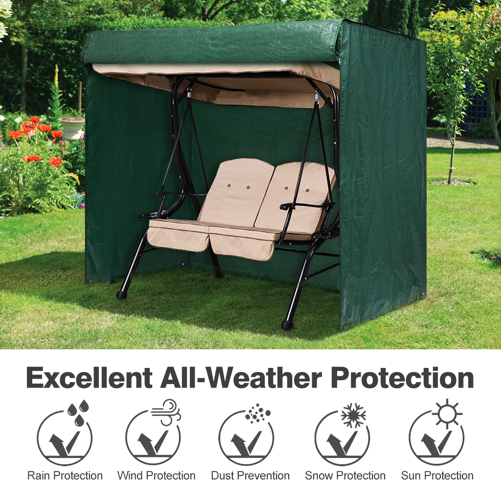 Finether 2-Seater Patio Swing Cover Waterproof Cover For Patio Swing Chair With Canopy Outdoor Furniture Patio Hammock Canopy