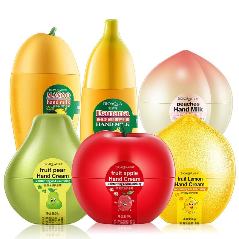 Bioaqua Peach Lemon Pear Mango Banana Ointment Milk Hand Creams Anti Aging Chapping Dry Lotion Cream For Hands Skin Care