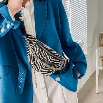 Zebra pattern PU Leather Fanny Packs Women 2021 Spring Fashion Waist Packs Female Phone Purses Ladies Chest Bags