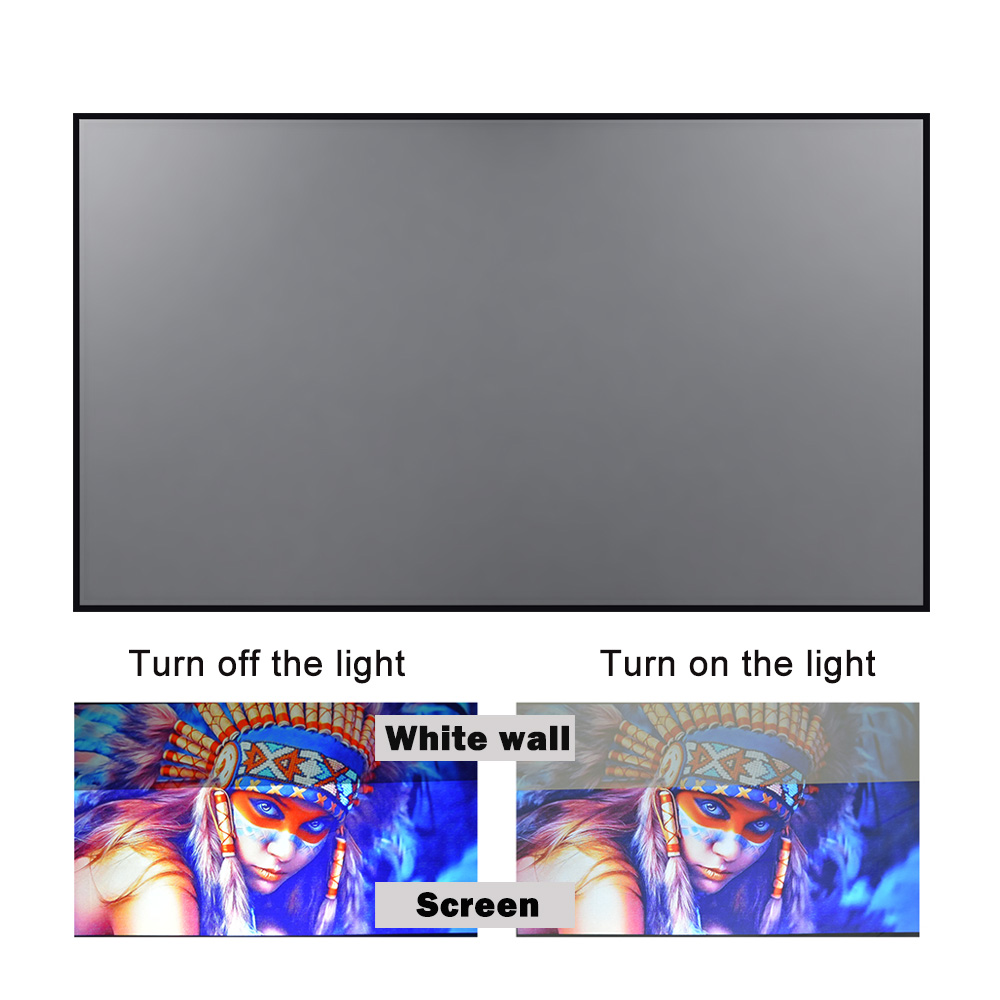 Projector Screen 60 72 84 100 120inch Reflective Fabric Projection Screen For XGIMI H3 Z6 H2 JMGO Xiaomi YG300 Espon Beamer