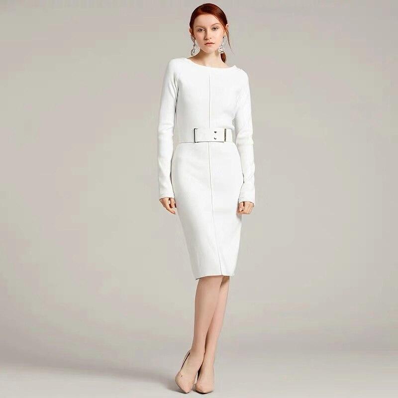 2020 Новое весеннее женское элегантное дизайнерское повседневное облегающее трикотажное платье с круглым вырезом эластичное качественное б...
