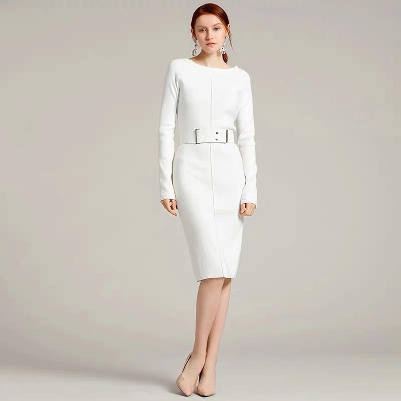 2020 New Spring Women Elegant Designer Casual Slim Sheath Knit Dress O-neck Elastic Quality White Mid Dresses With Belt