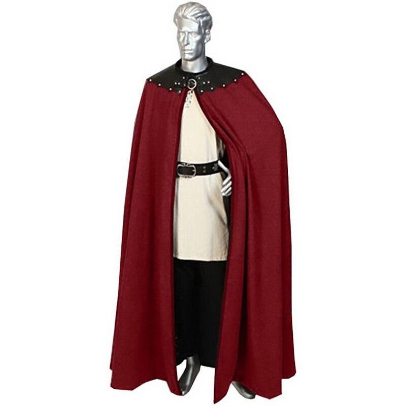 DIHOPE Retro Cape Men's Jacket Cloak Fashion Gothic Punk Jacket Knights Medieval Renaissance Fur Opent Coats Outfit