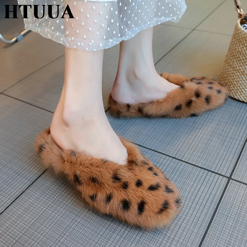 HTUUA Fur Slippers Mules-Shoes Leopard Flats Furry Fluffy Winter Women Ladies Indoor