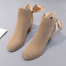 Women Classics Ankle Boots High Heel Suede Soft Shoes Lacing Bow Anti-Skid Women Boots Square Heel Causal Ladies Footwear(China)