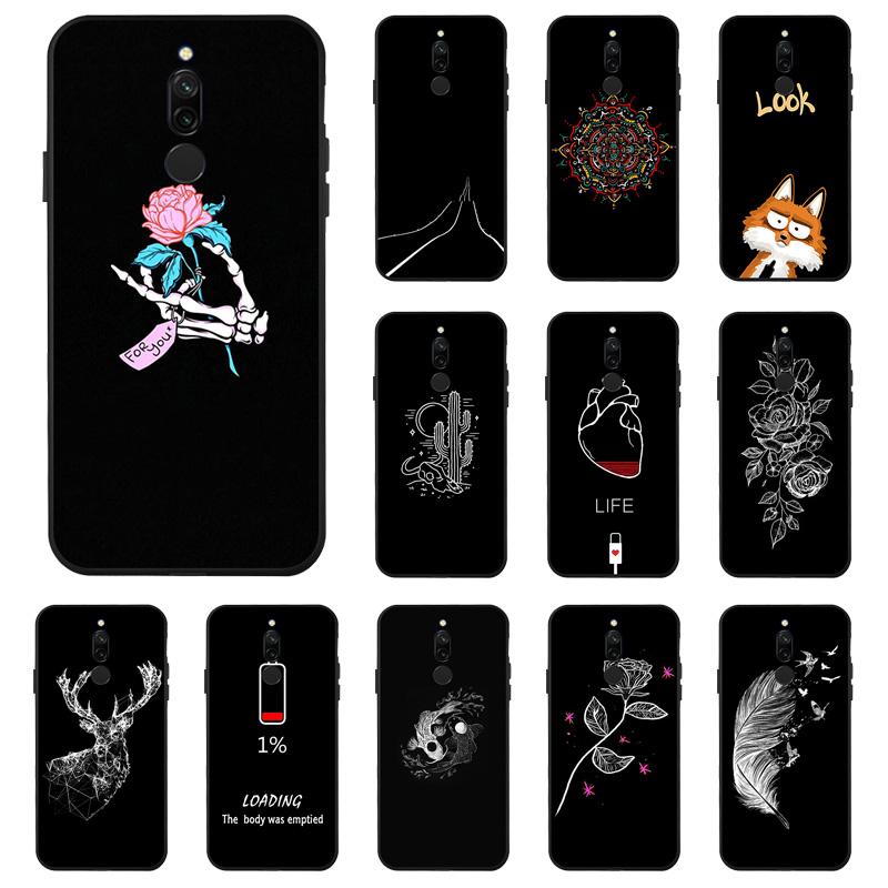 Case for Xiaomi Redmi Note 8 7 Pro Case Redmi 8A 8 Cover Black Painted Flower Soft Silicone Cover On Xiaomi Mi 9T A3 9 Pro Cases