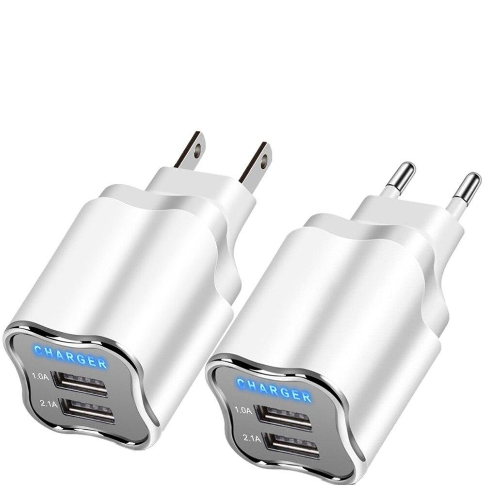Chargeur de téléphone adaptateur 2 Ports USB chargeur ue/US prise Mobile pour iphone 6 7 8 Xiaomi Micro USB câble Samsung adaptatif bonne Charge