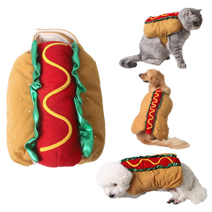 Funny Pet Dog Cat Clothes Hot Dog Hamburger Cosplay Puppy Halloween Dog Costume Outfit for Small Medium Dog Cat pet Costumes(China)