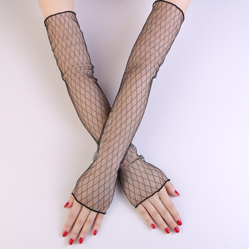 Elifashion Net Gauze Sunscreen Gloves Women Summer Thin Long Arm Cover Gloves UV Driving Sunscreen Ice Sleeves For Women