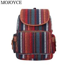 Fashion Boho Ethnic Travel Backpack Women Large Capacity Canvas Shoulder Schoolbags Teenager Girls Vintage Leisure Knapsack