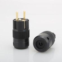 Комплект из 2 предметов, без логотипа Латунь Позолоченные Schuko EU Мощность штекерные соединители+ Прю медь IEC разъем адаптера
