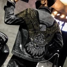 YASUGUOJI Новинка панк стиль Мода Орел Вышивка с вышивкой джинсовая куртка мужские джинсовые куртки Уличная тонкая черная Мужская куртка