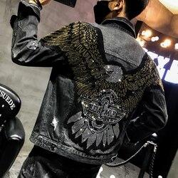 YASUGUOJI Neue 2019 Punk Stil Mode Adler Gestickte Patch Jean Jacke Männer Denim Jacken Streetwear Schlanke Schwarze Jacke Männer