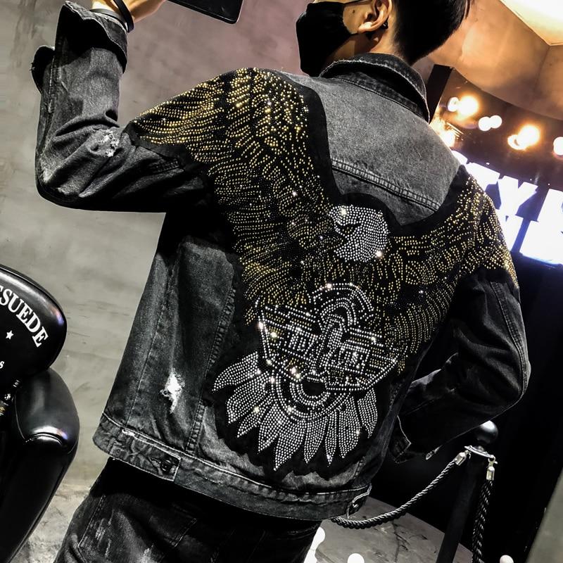 YASUGUOJI New 2019 Punk Style Fashion Eagle Embroidered Patch Jean Jacket Men Denim Jackets Streetwear Slim Black Jacket Men