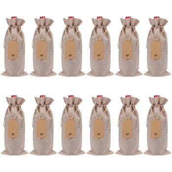 25Pcs Jute Wine Bag Reusable Lunch Bag Wine Bottle Gift Bags Textile Foldable Wrapping Drawstring Party Table Decor
