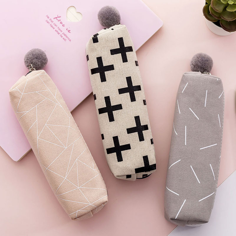Kawaii Plush Girl Pencil Case Cute Versatile Pen Boxs Simple Canvas School Office Stationery Gift Supplies Women Makeup Bag 2019
