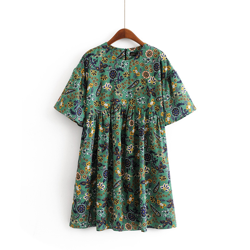 2018 Western Style Spring And Summer WOMEN'S Dress New Style Holiday Beach Skirt Green Cover Meat Hua Bao Xiu Doll Models Dress