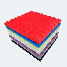 4 sztuk izolacja akustyczna pianka 500X500X50mm pianka akustyczna leczenie dźwięku Studio pokój absorpcja płytki pianka poliuretanowa 7 kolory