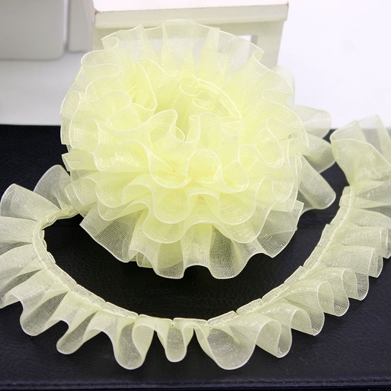 2.5cm Wide Organza Pleated Tulle Lace Fabric DIY Dress Skirt Decoration Cradle Material Home Textile Sewing Pet Toy Clothes Trim
