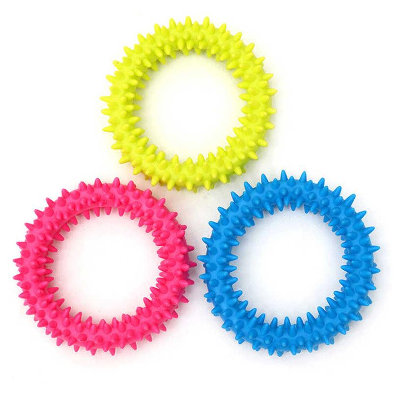 متعدد الألوان غير سامة دائرة المطاط كلب جرو الأسنان الأسنان صحي مضغ عض حلقة اللعب الكلب إصبع فرشاة الأسنان لعبة الكلب لعب