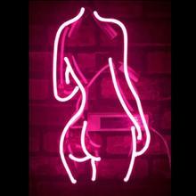 Custom Pink Ladys Back Glass Neon Light Sign Beer Bar