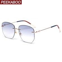 Peekaboo women rimless glasses metal men summer style gradie