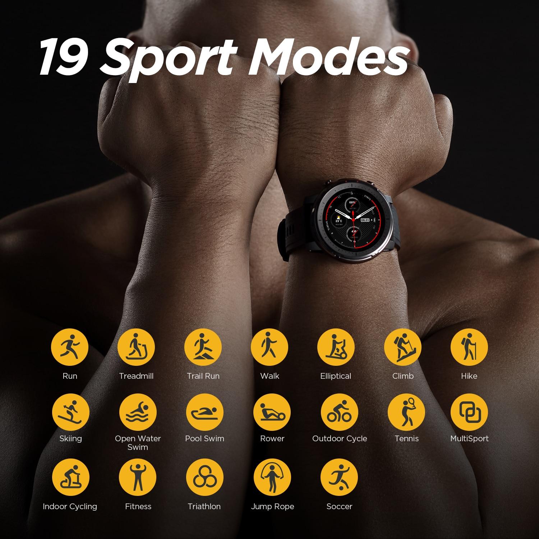 Смарт-часы Amazfit Stratos 3, глобальная версия, GPS 5 АТМ, Bluetooth, музыка, двойной режим, 14 дней работы, Смарт-часы для Android 2019-3