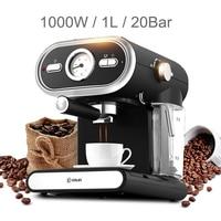 20%,Cappuccino Espresso Coffee Maker Milk Foamer 1000W 1L 20Bar High Pressure Extractor Visualized Temperature Control