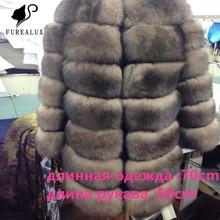 2019 Fashion Women's Blue Fox Fur Full pelt High Quality Winter Genuine Leather Fox Handmade Clothing Fur Coat Customized FC-023 цена