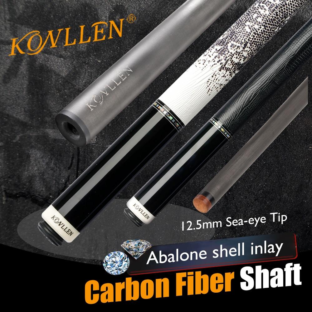 KONLLEN-Palo de eje de billar de fibra de carbono Energy12.5mm, 3/8x8, Unión Radial de pines, carcasa de abulón, tacos de tecnología negra incrustada