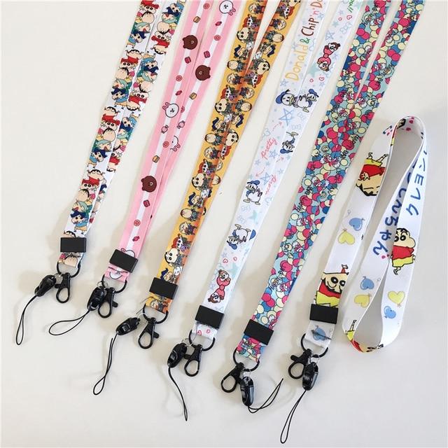 Wholesale cartoon pattern pendant lanyard key ID gym with USB badge clip DIY mobile phone hanging neck rope