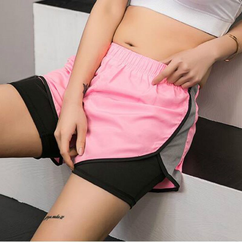 Women Athletic Shorts Quick Dry Running Fitness Workout Shorts Cycling Bike Trousers 2 In 1 With Llining