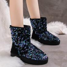 Rimocy Classic Warm Plush Winter Snow Boots Women Slip on Platform Sequins Flat Shoes