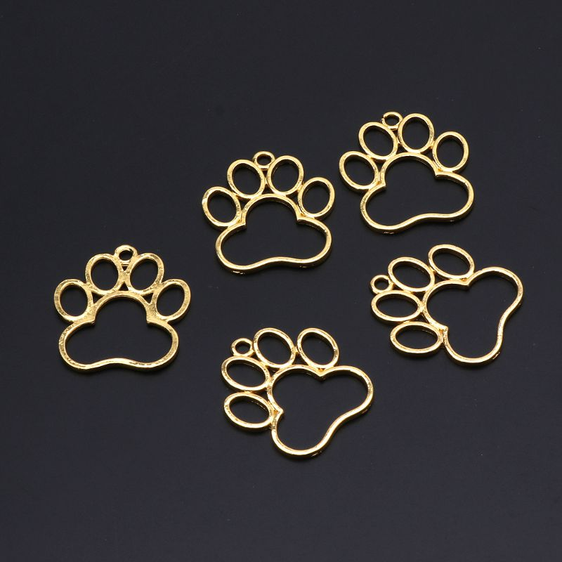 5Pcs Pet Dog Footprint Blank Frame Pendant Open Bezel Setting UV Resin Jewelry