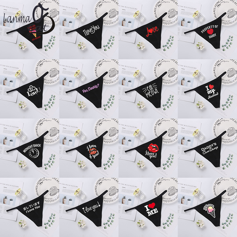 Hot Sexy Women Black G String Panties Sexy Funny Print T Back Underwear Ladies Funny Inner Underpants