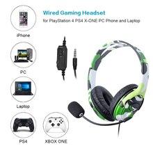 Для PS4 Проводная игровая гарнитура наушники с микрофоном для playstation 4 PS4 X-ONE ПК телефон и ноутбук