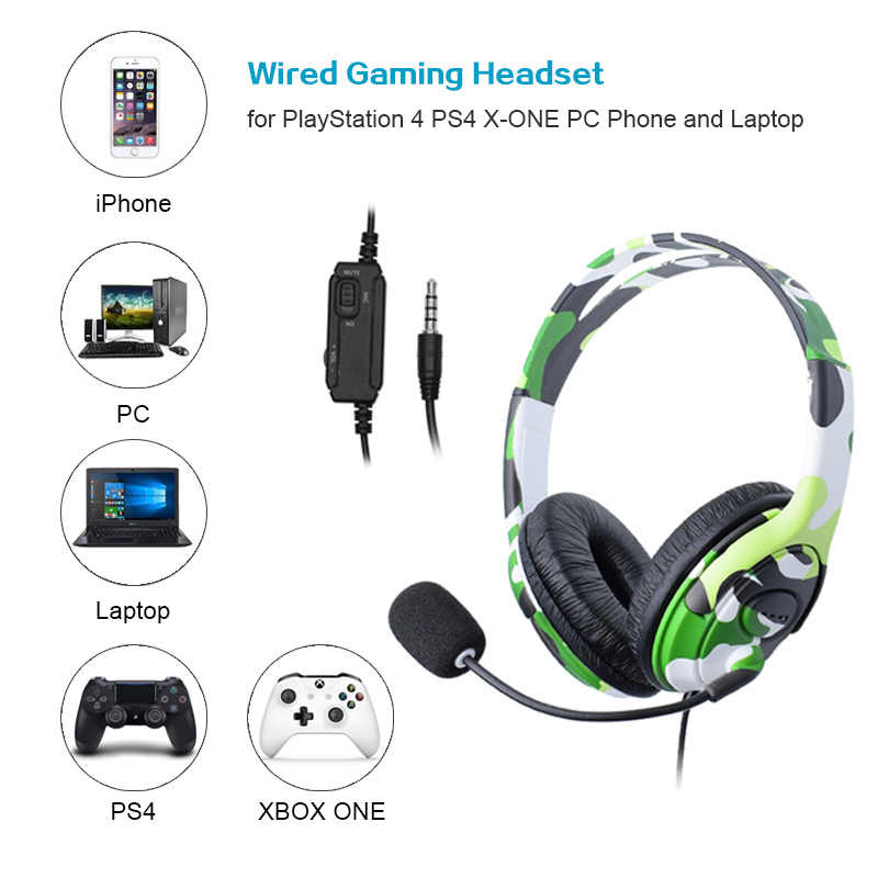 Untuk PS4 Wired Gaming Headset Headphone Earphone dengan Mikrofon untuk PlayStation 4 PS4 X-ONE PC Ponsel dan Laptop