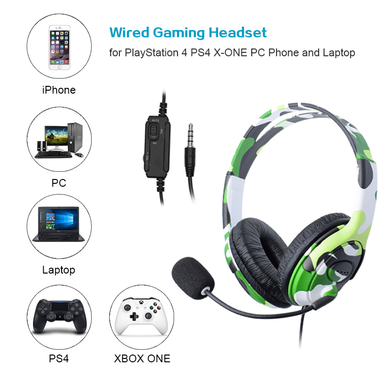 For PS4 Wired Gaming Headset headphones Earphones with microphone for PlayStation 4 PS4 X-ONE PC Phone and Laptop(China)