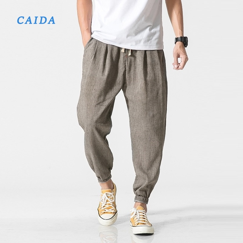 CAIDA Cotton Linen Casual Harem Pants Men Joggers Man Summer Trousers Male Chinese Style 2020 Harajuku Clothe Loose