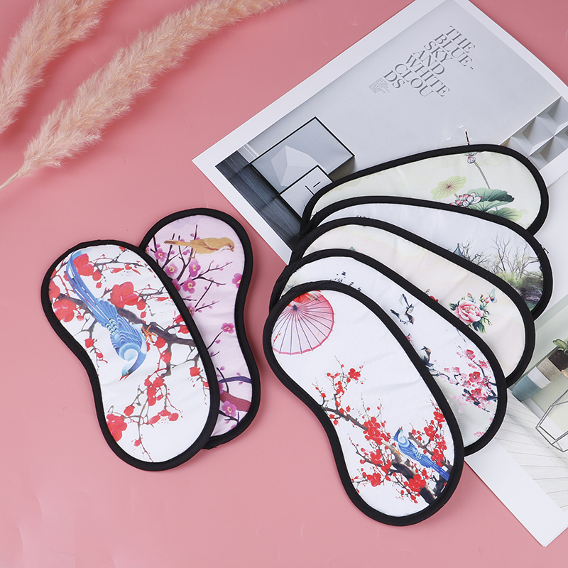 1 Pcs Travel Relax Eye Patch Random Chinese Wind Flower Bird Eye Mask Sleep Eye Mask