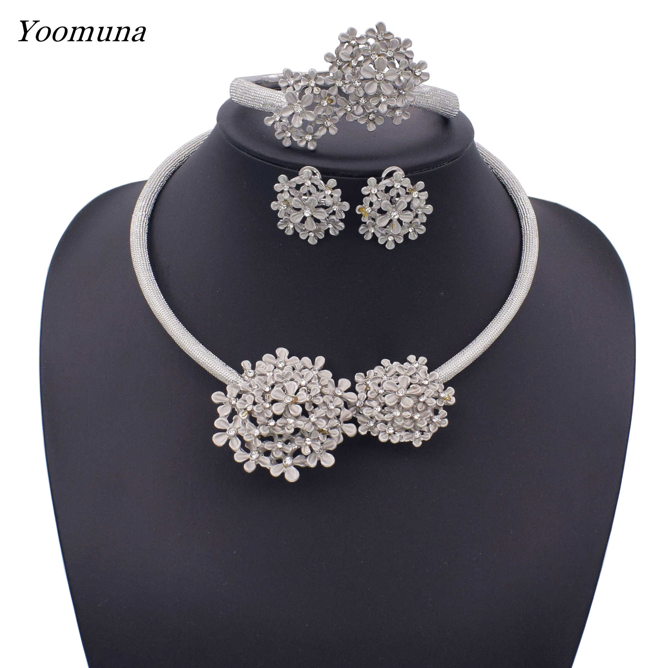 2019 Bridal Nigerian Wedding party Jewelry Set for Women Fashion African Beads Jewelry Set Dubai Gold Jewelry  Design