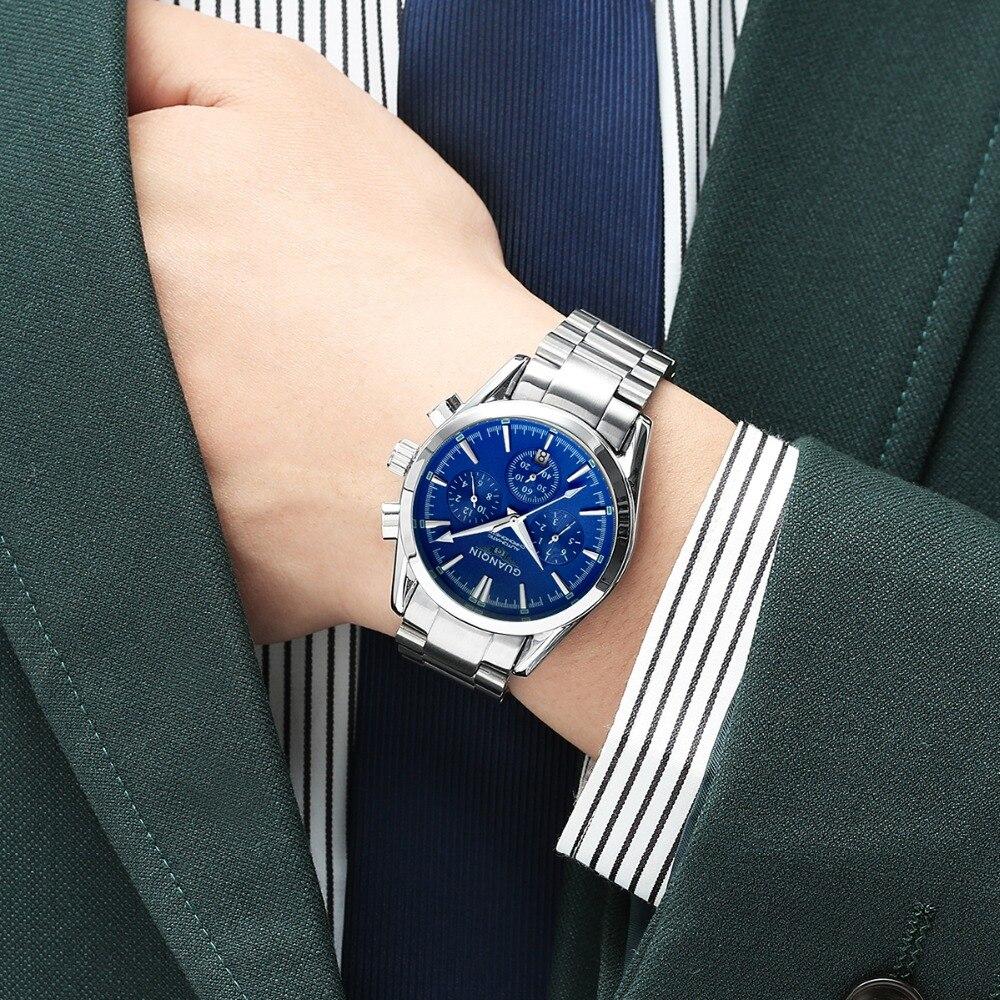 Guanqin gq01231 relógio mecânico movimento masculino relógios