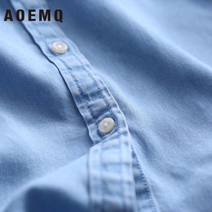 AOEMQ 뉴 플러스 사이즈 봄 가을 셔츠 블라우스 데님 블루 캐주얼 스포츠 스타일 셔츠 버튼 코트 사용 여성 탑 의류
