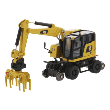 1/87 Caterpillar CAT M323F Railroad Wheeled Excavator Engineer Vehicle Car Model caterpillar cat m316d wheel excavator 1 50 model by diecast masters 85171