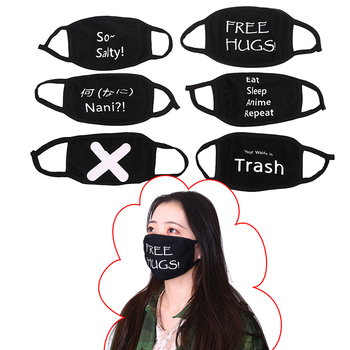1PC Black Letter Cotton Dustproof Mouth Face Mask Kpop Text Mask Cycling Anti-Dust Cotton Facial Protective Cover Masks